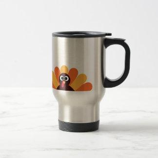 Amazing turkey in brown, yellow travel mug