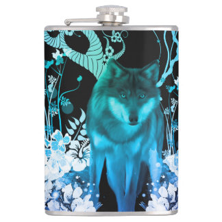 Amazing wolf hip flask