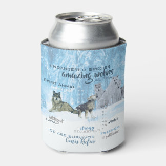 Amazing Wolves Typography   Personalized Can Cooler