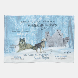 Amazing Wolves Typography   Personalized Kitchen Towel