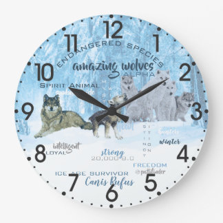 Amazing Wolves Typography   Personalized Large Clock