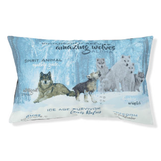 Amazing Wolves Typography | Personalized Pet Bed