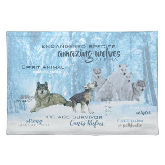 Amazing Wolves Typography   Personalized Placemat