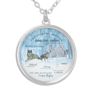 Amazing Wolves Typography | Personalized Silver Plated Necklace