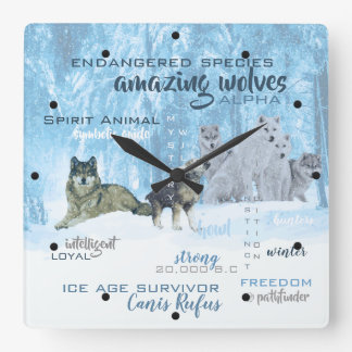 Amazing Wolves Typography | Personalized Square Wall Clock