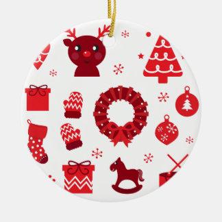 Amazing xmas Elements Red Ceramic Ornament