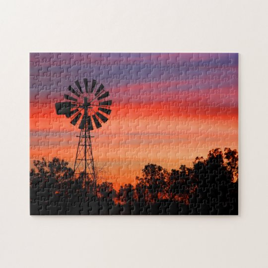 Amazingly Colourful Dawn Sunrise Windmill Jigsaw Puzzle
