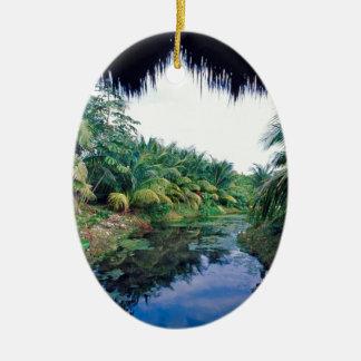 Amazon Jungle River Landscape Ceramic Ornament
