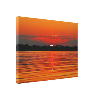 Amazon River Sunset Stretch Canvas Print