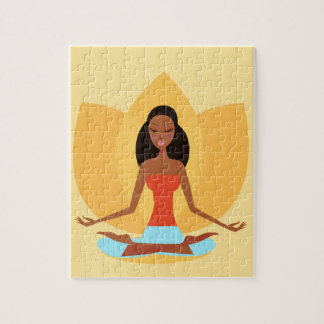 AMAZONIC YOGA PRINCESS WELLNESS GIRL YELLOW JIGSAW PUZZLE