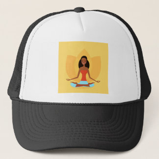 AMAZONIC YOGA PRINCESS WELLNESS GIRL YELLOW TRUCKER HAT