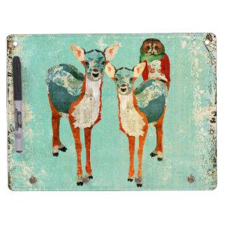 Amber & Azure Deer & Rose Owls Dry Erase Board