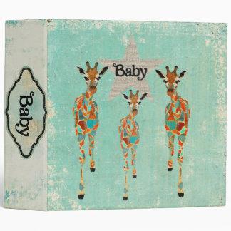 Amber Azure Giraffes Baby Book 3 Ring Binder