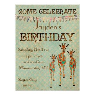 Amber Azure Giraffes Birthday Invitation