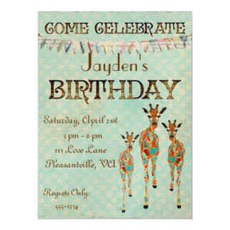 Amber & Azure Giraffes  Birthday Invitation