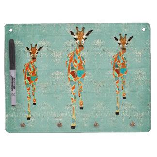 Amber & Azure Giraffes Dry Erase Board