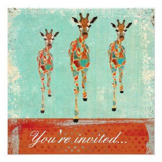 Amber & Azure Giraffes Invitation