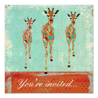 "Amber & Azure Giraffes Invitation 5.25"" Square Invitation Card"