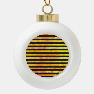 Amber background | stripes pattern ceramic ball christmas ornament
