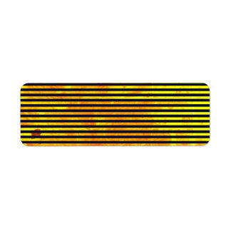 Amber background   stripes pattern return address label