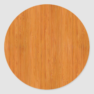 Amber Bamboo Wood Grain Look Classic Round Sticker