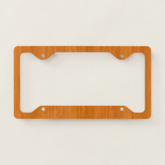 Amber Bamboo Wood Grain Look License Plate Frame