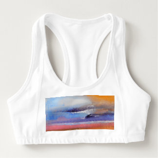 Amber Blue Pink Abstract Sports Bra