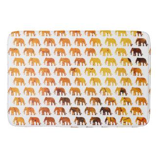 Amber elephants pattern custom background color bath mat