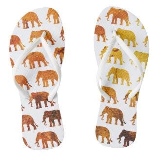 Amber elephants pattern custom background color flip flops