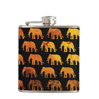 Amber elephants pattern custom background color hip flask