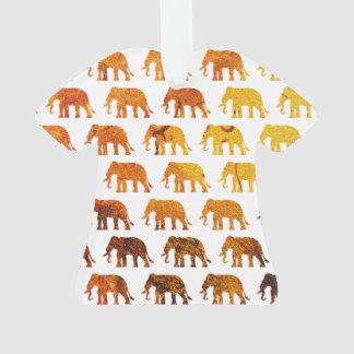 Amber elephants pattern custom background color ornament