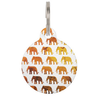 Amber elephants pattern custom background color pet tag