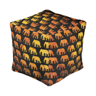 Amber elephants pattern custom background color pouf