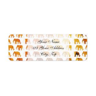Amber elephants pattern custom background color return address label