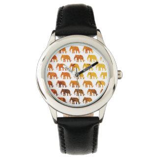 Amber elephants pattern custom background color watch