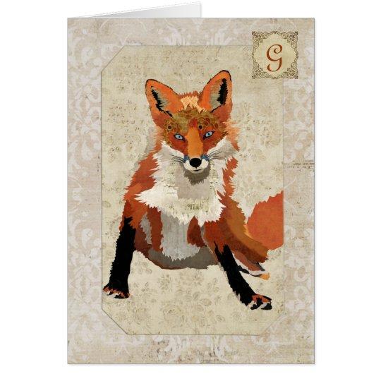 Amber Fox Monogram Notecard
