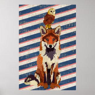 Amber Fox & Owl Stripes Art Poster