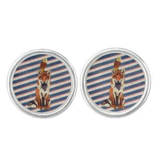 Amber Fox & Owl Stripes Cuff Links Cufflinks
