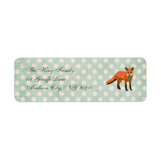 Amber Fox Polkadot   Address Label