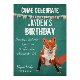 Amber Fox Retro Birthday Invitation