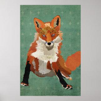Amber Fox Retro Diamond Art Poster