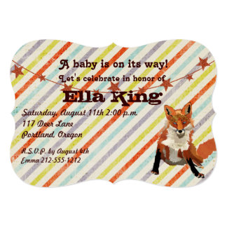 Amber Fox Stripes Baby Shower Invitation