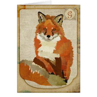 Amber Fox Vintage  Monogram Notecard Stationery Note Card