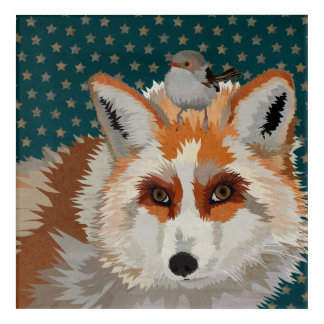 AMBER FOX & WREN ACRYLIC WALL ART