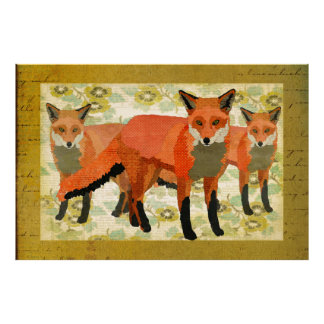 Amber Foxes Art Poster