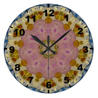 Amber Gems Fractal Large Clock