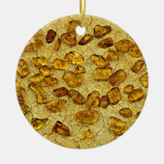 Amber gemstones round ceramic ornament