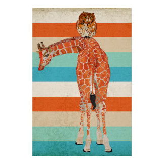 Amber Giraffe & Owl Art Poster