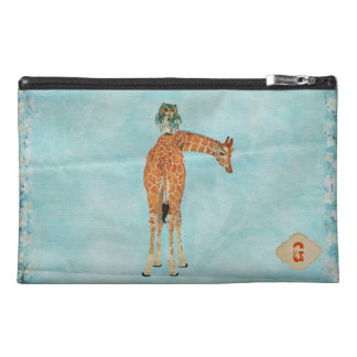 Amber Giraffe Owl Blue Cosmetic Bag