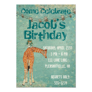 Amber Giraffe & Owl Blue Star Birthday Invitation